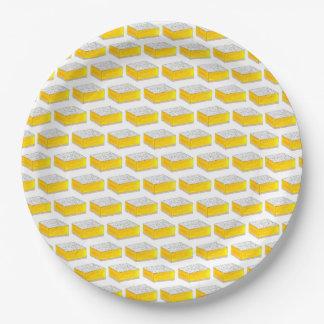 Assiettes En Papier Pâtisseries jaunes de fin gourmet de carré de
