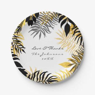 Assiettes En Papier Paume d'or blanc noire tropicale de guirlande