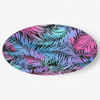 Assiettes En Papier Paumes colorées tropicales
