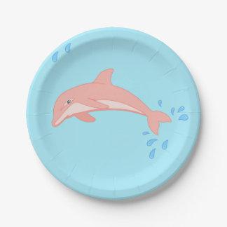 Assiettes En Papier Pêches le dauphin rose