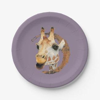 Assiettes En Papier Peinture de girafe avec le cadre de cercle d'or de