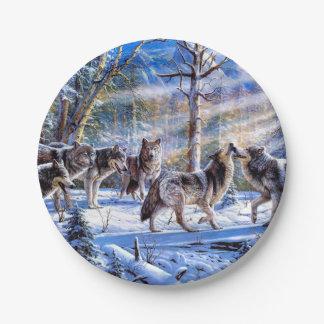 Assiettes En Papier Peinture de loup - art de loup - illustration de