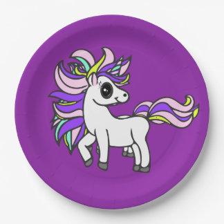 Assiettes En Papier peloton de licorne, poney coloré, fête