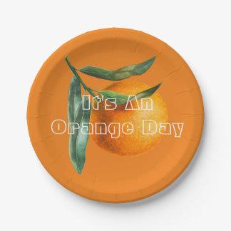 Assiettes En Papier Pendant un jour orange