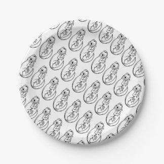 Assiettes En Papier Personnage de dessin animé de triton ou de