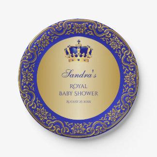 Assiettes En Papier Petite couronne d'or de prince bleu royal