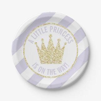 Assiettes En Papier Petite princesse d'or pourpre sur le baby shower