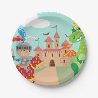Assiettes En Papier Petits château et dragon de chevalier
