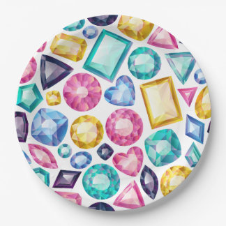 Assiettes En Papier Pierres gemmes brillantes Girly chics de diamant