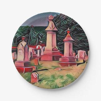 Assiettes En Papier Pierres tombales lumineuses de cimetière