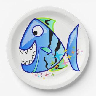 Assiettes En Papier Piranha tropical bleu avec des étoiles