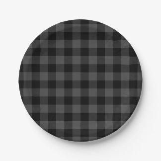 Assiettes En Papier Plaid gris et noir