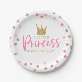 """Assiettes En Papier Plaque à papier 7"""" de princesse baby shower or"""