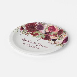 Assiettes En Papier Plaque à papier Bourgogne de mariage floral rouge