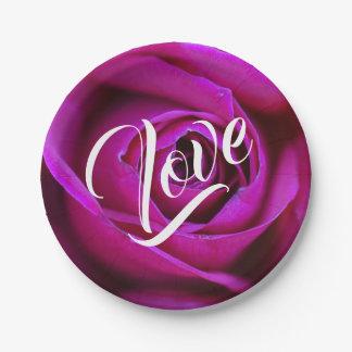 Assiettes En Papier Plaque à papier d'amour rose