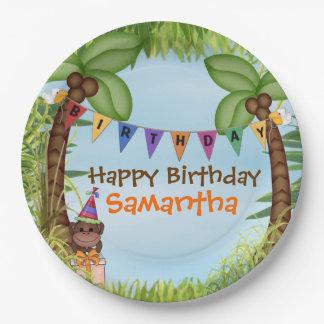 Assiettes En Papier Plaque à papier d'anniversaire de safari de jungle