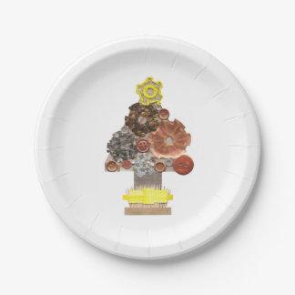 Assiettes En Papier Plaque à papier d'arbre de Noël de Steampunk