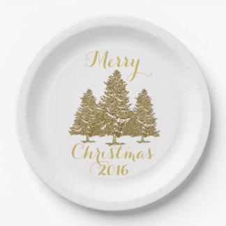 Assiettes En Papier Plaque à papier d'arbres de Noël d'or