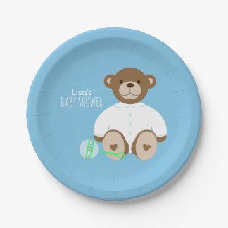 Assiettes En Papier Plaque à papier de baby shower d'ours de nounours
