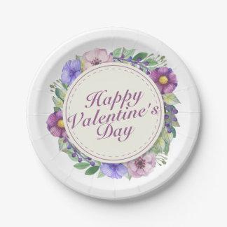 Assiettes En Papier Plaque à papier de cadre floral simple de