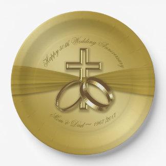 Assiettes En Papier Plaque à papier de cinquantième anniversaire d'or