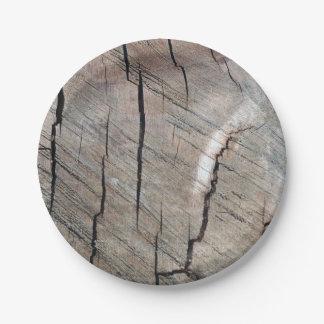 Assiettes En Papier Plaque à papier de conception en bois rustique de
