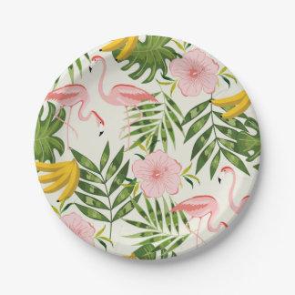 Assiettes En Papier Plaque à papier de flamant tropical d'été