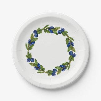 Assiettes En Papier Plaque à papier de guirlande bleue de baie