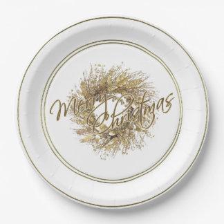 Assiettes En Papier Plaque à papier de Joyeux Noël de guirlande d'or