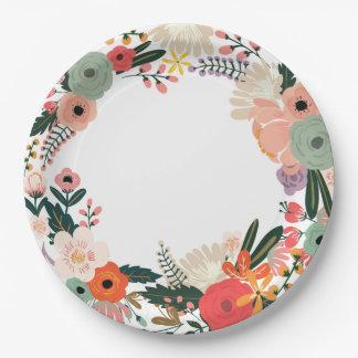 Assiettes En Papier Plaque à papier de mariage floral d'Anya