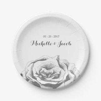 Assiettes En Papier Plaque à papier de mariage rose minimaliste de cru