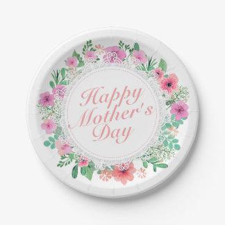Assiettes En Papier Plaque à papier de mère de cadre heureux élégant