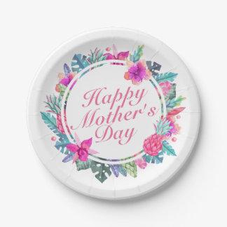 Assiettes En Papier Plaque à papier de mère de cadre heureux tropical