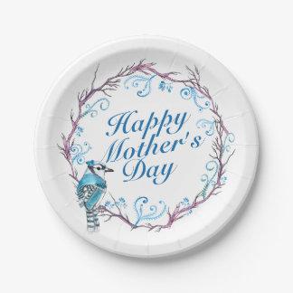 Assiettes En Papier Plaque à papier de mère de guirlande bleue