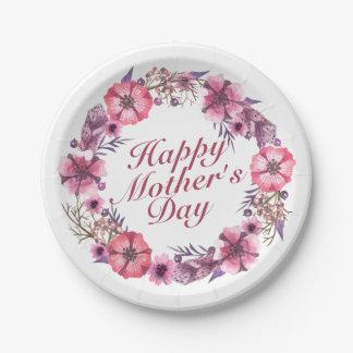 Assiettes En Papier Plaque à papier de mère de guirlande florale