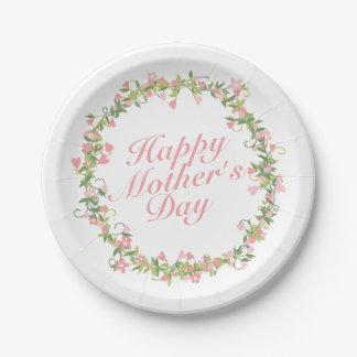 Assiettes En Papier Plaque à papier de mère de guirlande heureuse