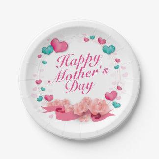 Assiettes En Papier Plaque à papier de mère du jour de coeur heureux
