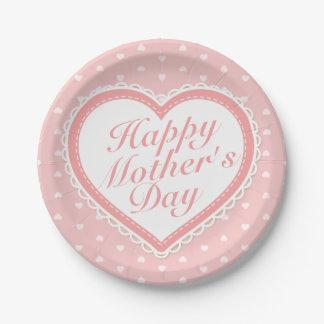 Assiettes En Papier Plaque à papier de mère du jour de coeurs heureux
