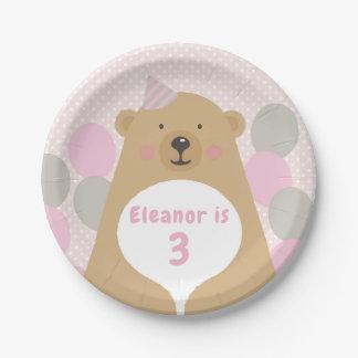 Assiettes En Papier Plaque à papier de nounours d'anniversaire câlin