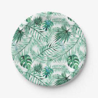 Assiettes En Papier Plaque à papier de palmier de motif tropical de