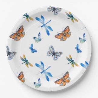 Assiettes En Papier Plaque à papier de papillon de libellule