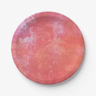 Assiettes En Papier Plaque à papier de plaisir rouge couleur pêche