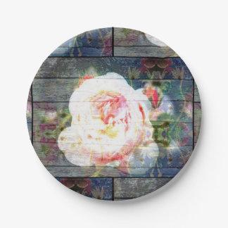 Assiettes En Papier Plaque à papier de rose de rose avec le fond en