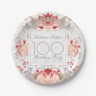 Assiettes En Papier Plaque à papier florale de fête d'anniversaire de