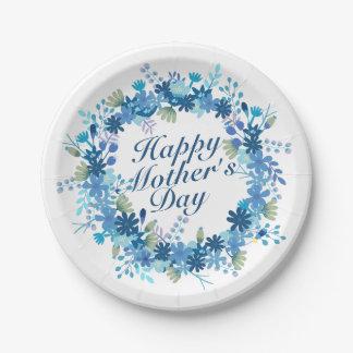 Assiettes En Papier Plaque à papier florale de mère d'hiver heureux du