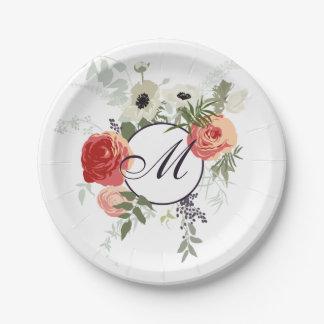 Assiettes En Papier Plaque à papier florale élégante du monogramme |