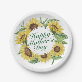 Assiettes En Papier Plaque à papier florale heureuse du jour de mère