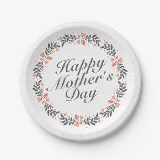 Assiettes En Papier Plaque à papier florale heureuse élégante du jour