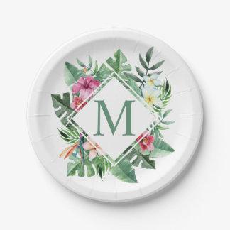 Assiettes En Papier Plaque à papier florale tropicale du monogramme |