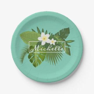 Assiettes En Papier Plaque à papier florale tropicale personnalisée du